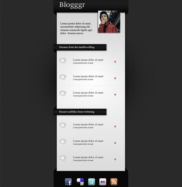 Blogggr Blogging Microsite PSD