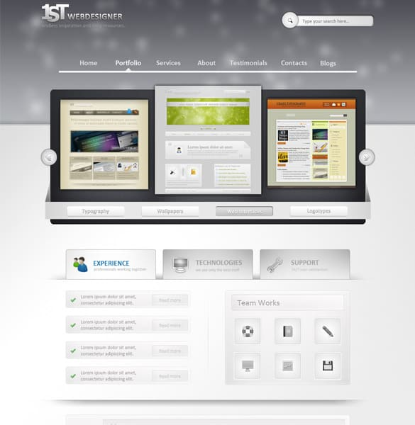 Professional Web Design Layout PSD