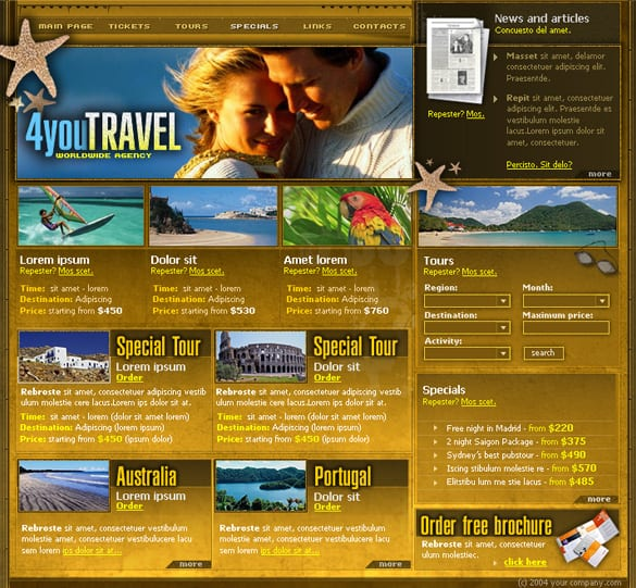6 Page Travel Web Site Templates PSD