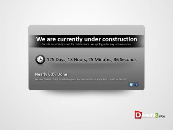 Sleek Under Construction PSD Template