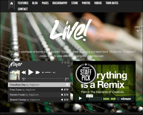 Live! music wordpress themes