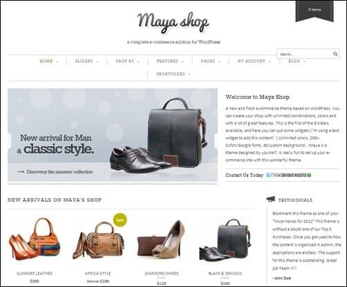 MayaShop responsive WordPress theme
