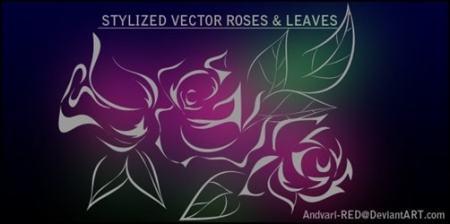 Roses-n-Leaves-Vector-illustrator-brush