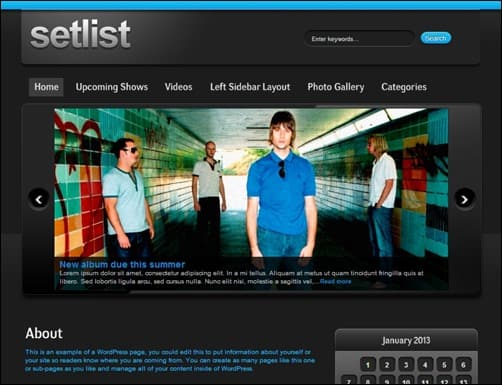 Setlist-wordpress-music-theme