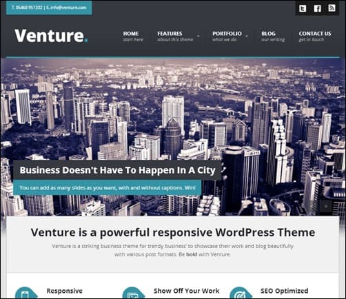 Venture responsive WordPress theme