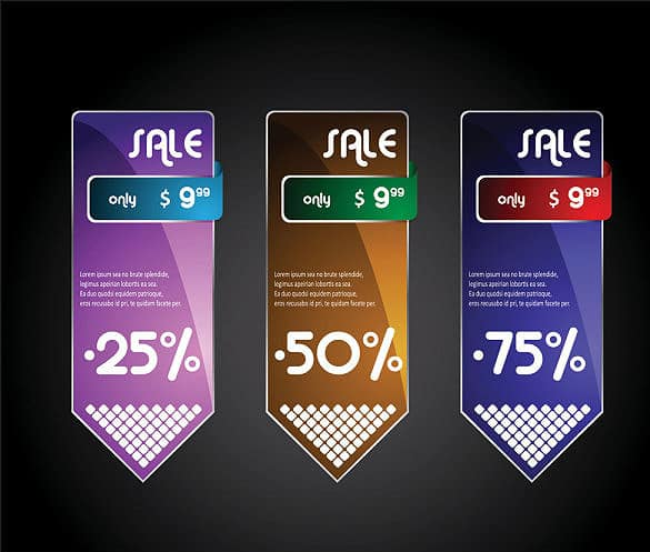 3 Beautiful boxes label vector
