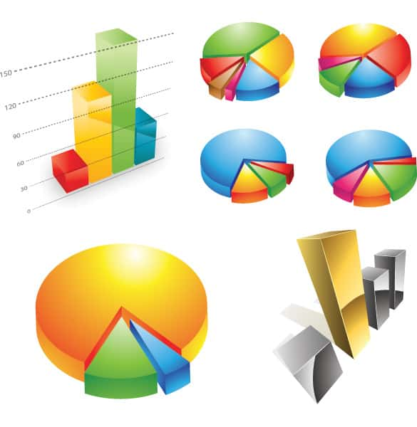 7 Clean Colorful 3D Chart Vectors