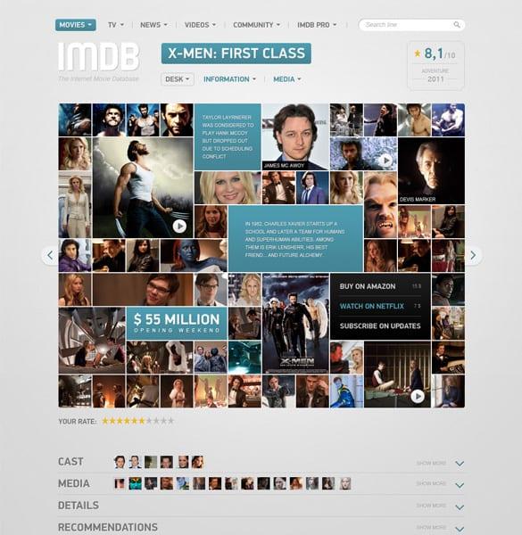 IMDB Film Page Concept PSD