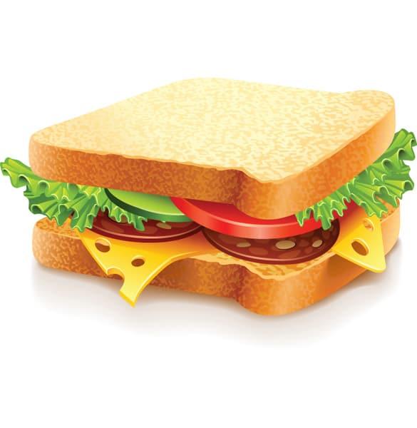 Delicious Meat Veggie Vector Sandwich