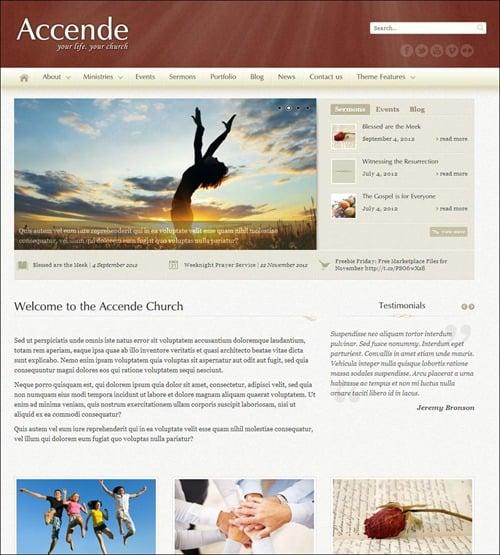 accende wordpress church themes