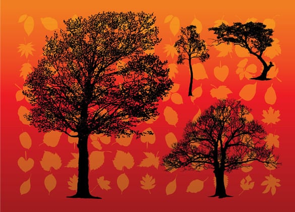 Silhouette Trees on Leaves Vector