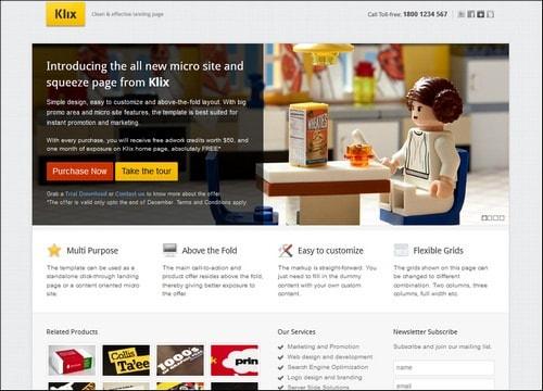klix landing page templates