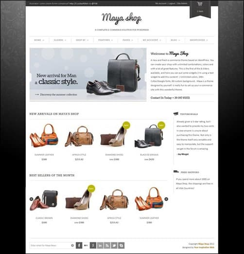maya-shop wordpress e-commerce theme