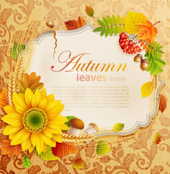 Bright Autumn Leaves Flower Vector Frame