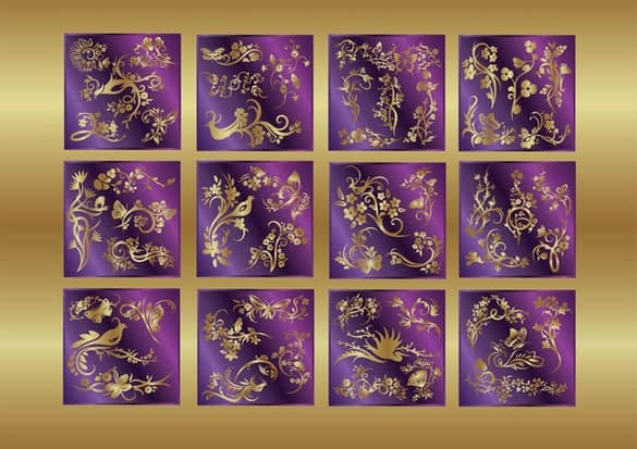 12 Exotic Gold Floral Vector Decorations