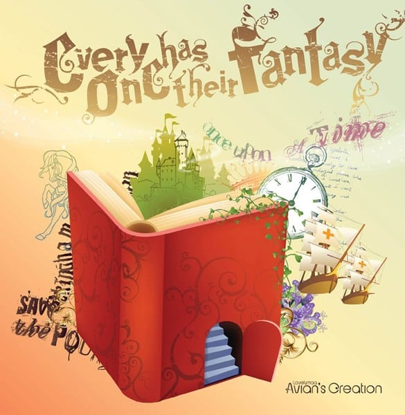 Fantasy World Book Vector Illustration