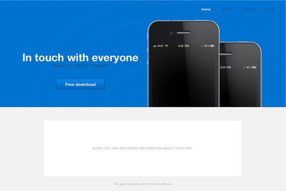 Professional iPhone App Website Template PSD