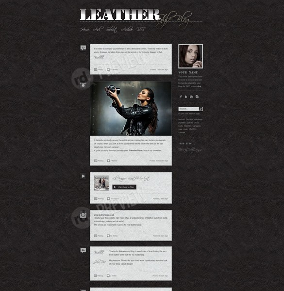 Dark Leather Blog Tumblr Theme Website PSD