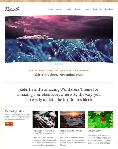 rebirth Church Website Templates