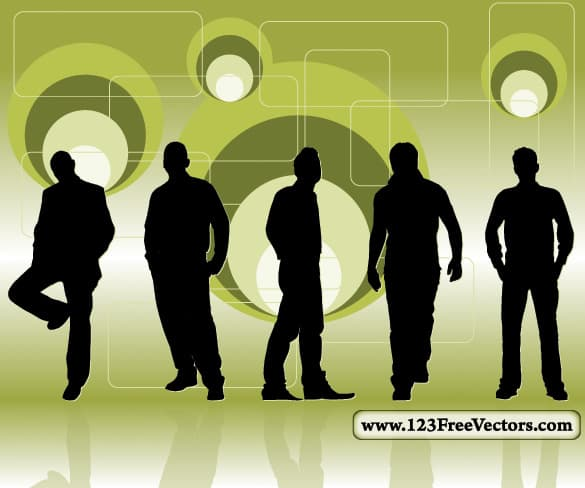 Posed Men Silhouettes Retro Background