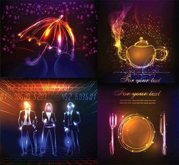 Illuminated Neon Vector Objects