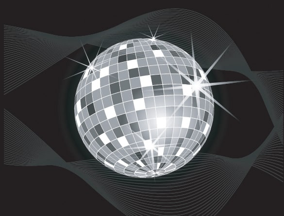 Sparkling Disco Ball Vector on Black