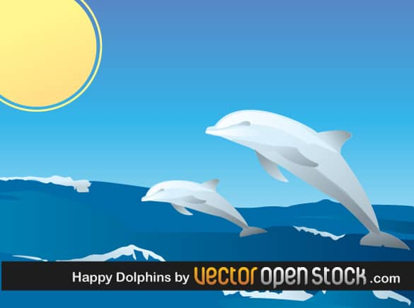 Leaping Dolphins in the Sun Vector
