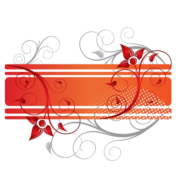Orange Floral Border Vector Background