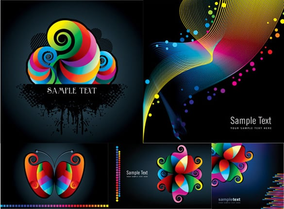 5 Vivid Colors Abstract Vector Patterns
