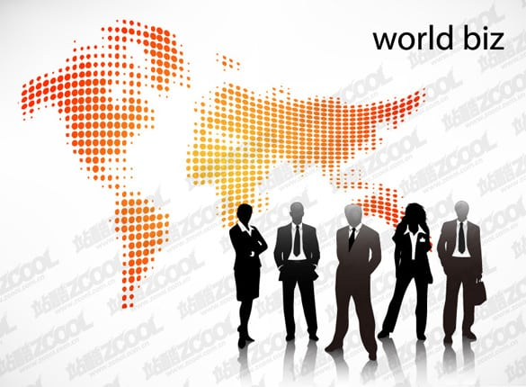 2 World Business People Silhouette Vectors