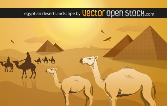 Egyptian Desert Landscape Vector