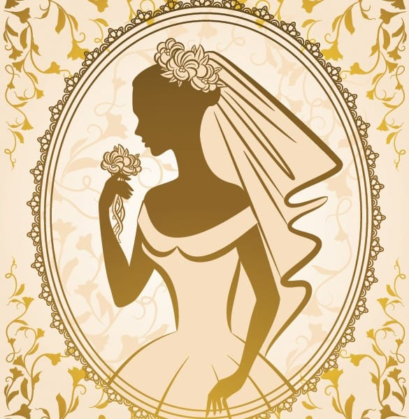 Bride Silhouette Frame Vector Illustration