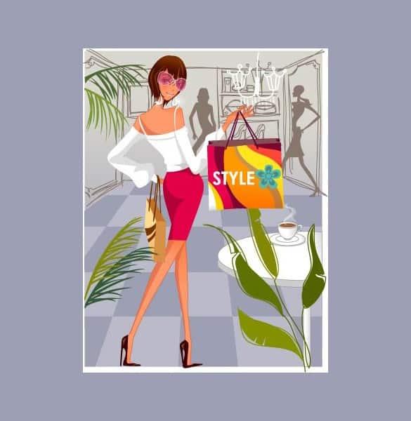 Fashion Woman Shopper Vector Illustration