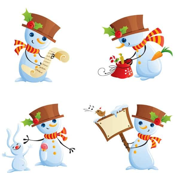 4 Cheerful Christmas Snowman Vector Cartoons