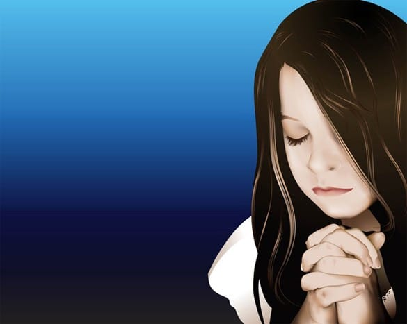 Touching Vector Portrait of Praying Girl