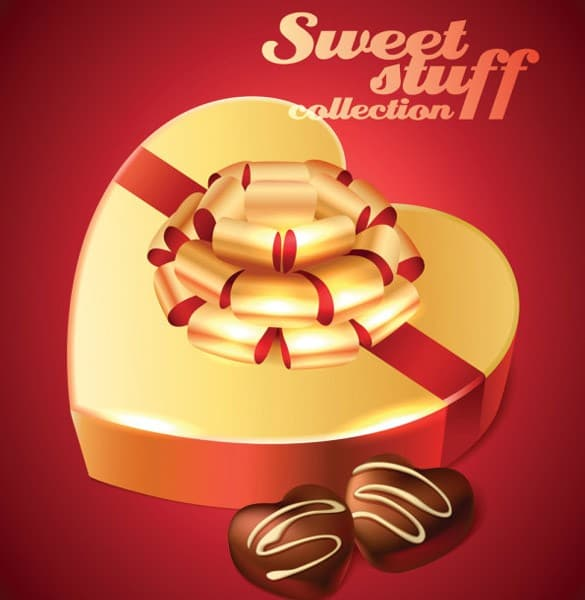 Gold Gift Box of Chocolates Vector