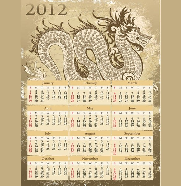 Detailed Vector 2012 Dragon Calendar