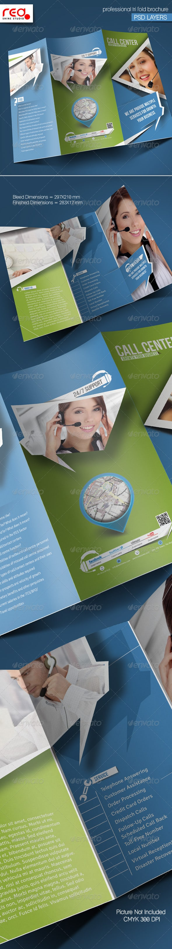 Customer Support Trifold Brochure Template