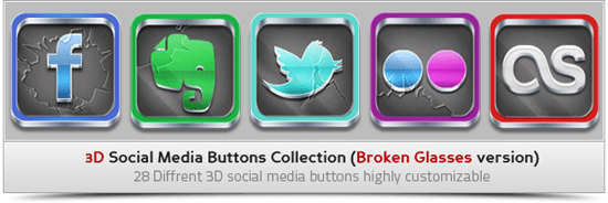 3D Social Media Buttons Collection