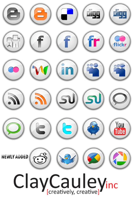 White Button Social Media Icon