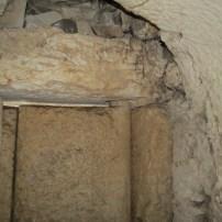Stone hinge on door