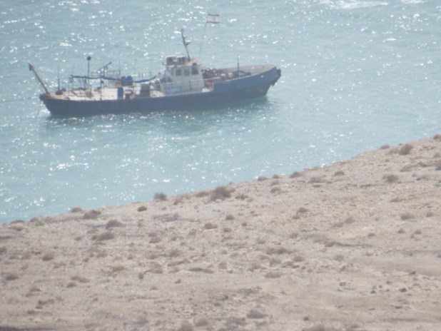 Modern research vessel in ancient Ein Gedi harbor