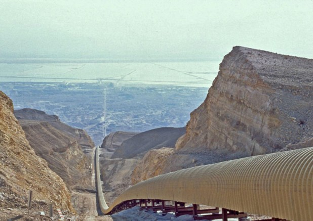 Dead Sea Works - the steep 18 kilometer conveyor belt for mined rock salt leading 900 meters up from Sodom, the lowest point on earth, lying on the Southwest shore of the Dead Sea, up to the railroad.
