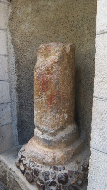 The broken column indicates where Judas betrayed the Master with a kiss.