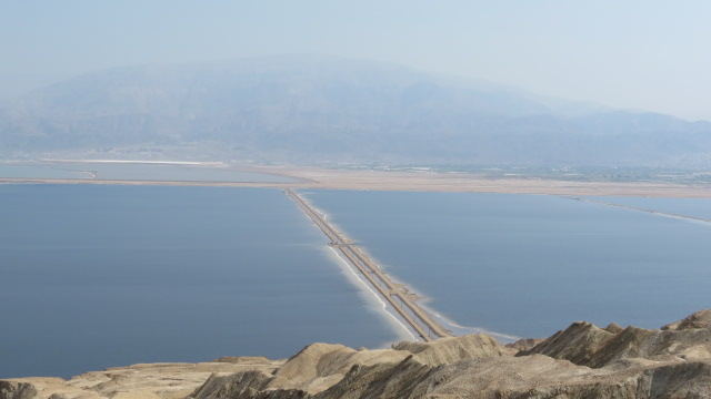 Mount Sodom Dead Sea salt evaporation ponds