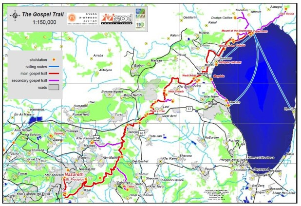 Gospel Trail Map - https://biblescienceguy.wordpress.com/2012/01/25/2-hike-the-bible-gospel-trail/