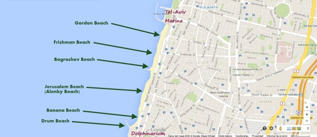 Tel Aviv Beach Map - Center