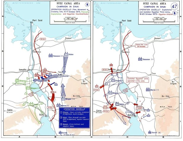 1973 Yom Kippur War in Sinai Maps, October 15–24