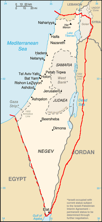 Map showing boundaries (in red) of the proposed protectorate of Palestine, as suggested by the Zionist representatives at the 1919 Paris Peace Conference, superimposed on modern boundaries. Photo: Briangotts