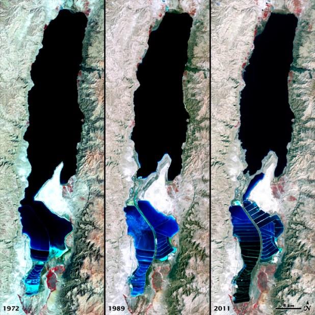 The Dead Sea 1972-2011 - Author: NASA Earth Observatory